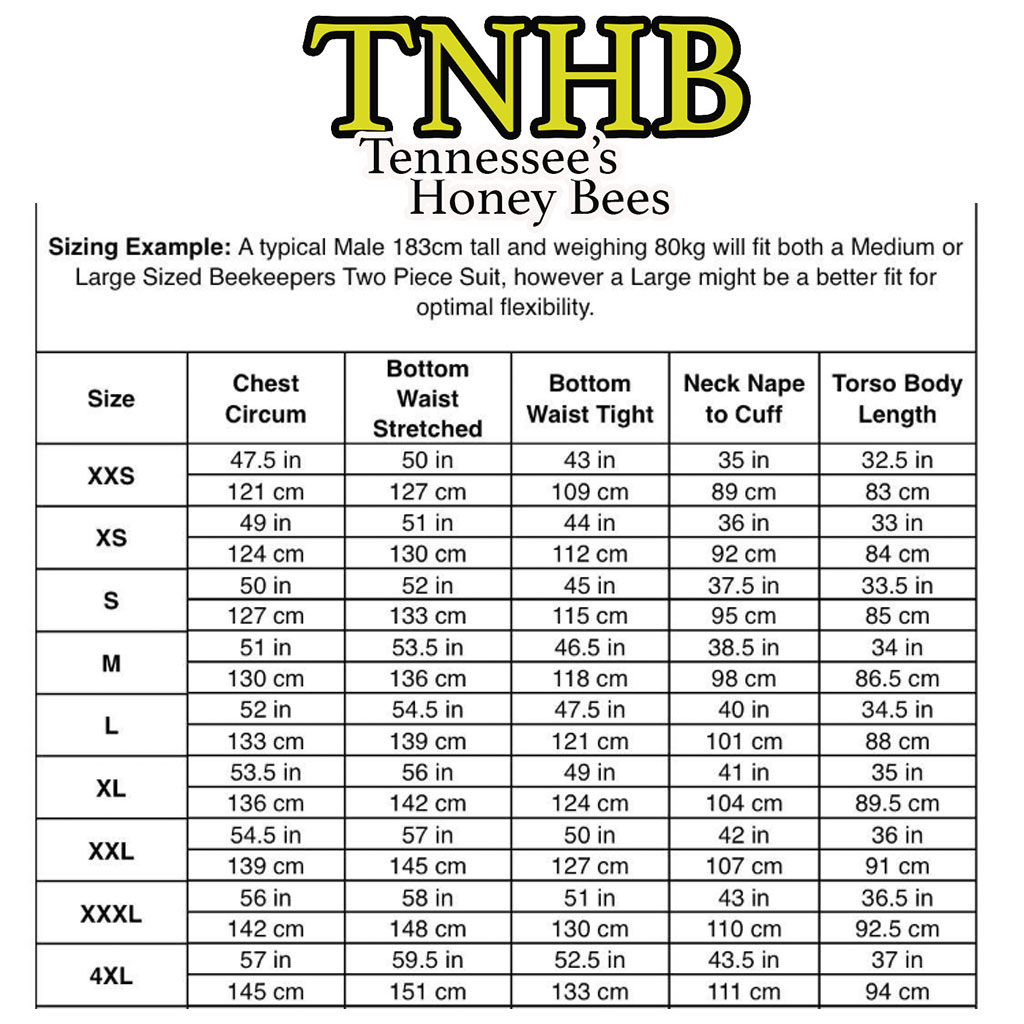 Tennessee's Honey Bees Jacket Sizing